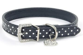 Lovely Collar With Dot Pattern Design & Heart Crystal Pendant, , DogGiftShop, DogGiftShop