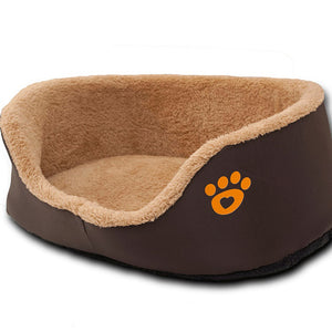 Paw Print Round Dog Sofa Bed Soft Fleece Warm Chihuahua Small Dog Beds S/M