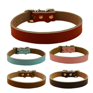 High Quality 5 Color Soft Cowhide Leather Collar, , DogGiftShop, DogGiftShop