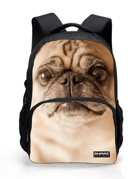 3D  Children School Backpack for Teenage Boys Cool Animal Pug Dog Backpack Fashion College Students Animal Backpack