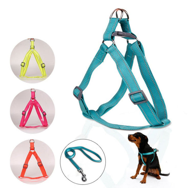 Reflective Dog Harness Adjustable Nylon Pet Traction Lead Harness Stitching Dog Harness Useful Pet Accessories Pet Leash