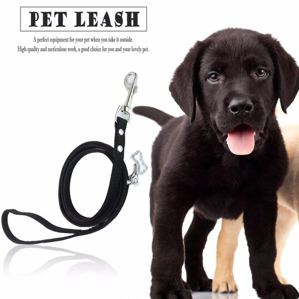 2017 Pet Leading Leash, Walking Leads, Soft Leather With Rhinestone Bone, Pendant Animal Accessories For Small Dogs Cats 1.5*120cm