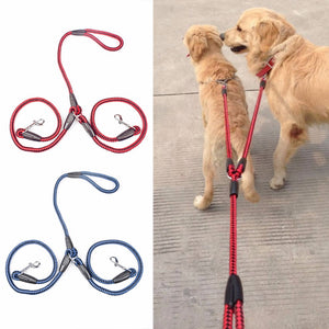 Strong Nylon Ribbon Double Dog Leash One Drag Braided Tangle For Walking Training Adjustable Size Pet Safety Traction Rope