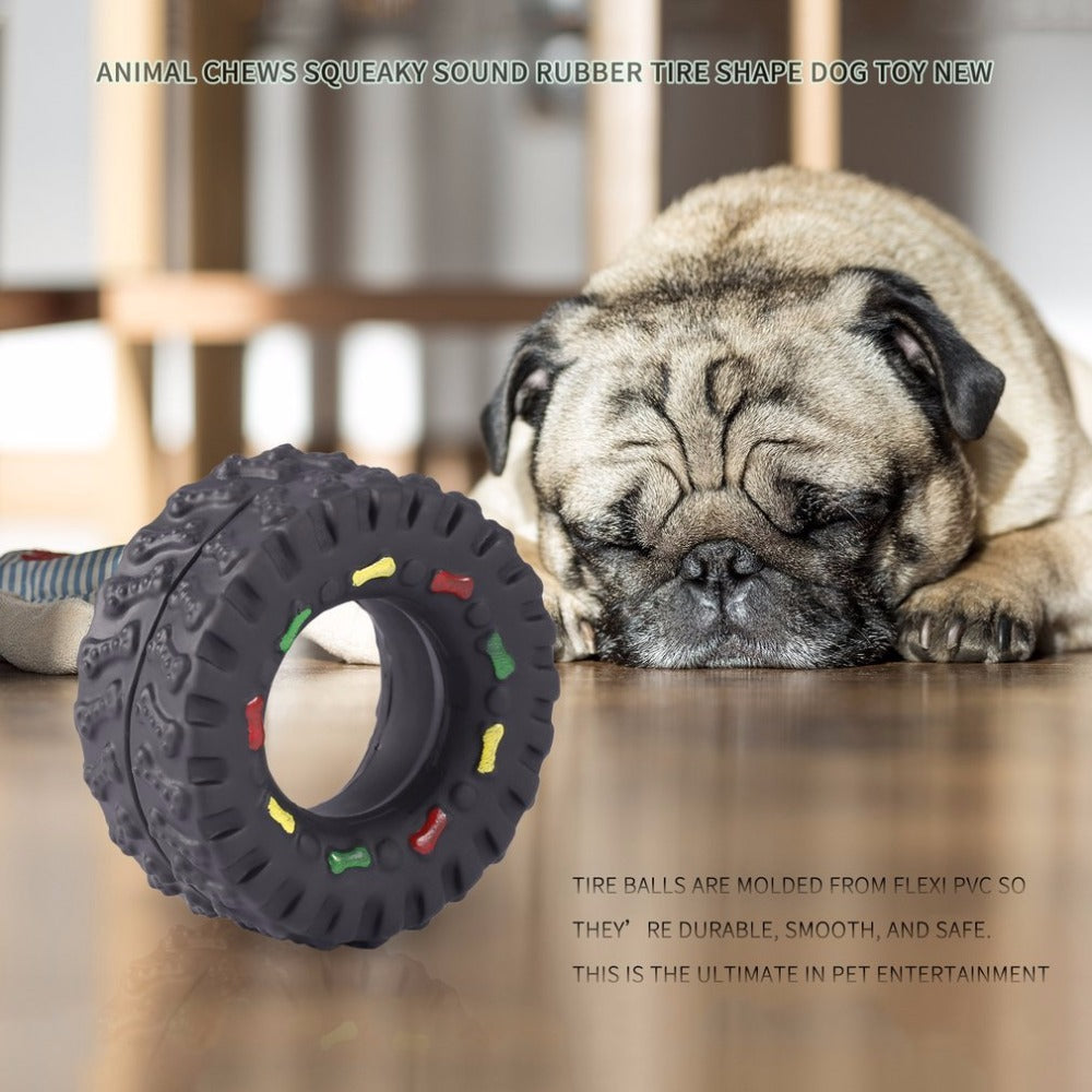 1Pc Pet Dogs Tire Ball, Animal Sounds, Tire Balls, Dog Toys, Pet Dog Animal Chews Squeaky, Sound Rubber Tire, Shape Dog Toy Newest