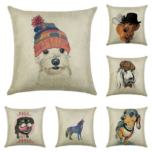 Cushion cover The dog of the trend linen/cotton  animal design pillow case Home decorative pillow cover seat pillow case