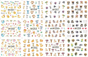 12 Sheets/Lot Nail A1249-1260 Small Animal Cat Dog Spirit Nail Art Water Sticker Decal For Nail Water (12 DESIGNS IN 1)