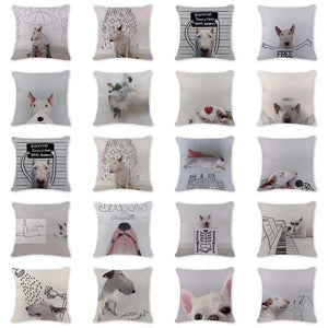 Designs Toss Pillow Chic Animal Dog Cute Cushion Covers Car Seat 45*45Cm Cotton Linen Home Decorating Bull Terrier Pillows Cases