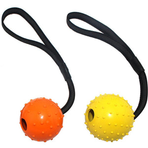 High Quality Multiple Color Natural Rubber Dog Toy Ball On A Strap Rope Pet Dog Training Toys