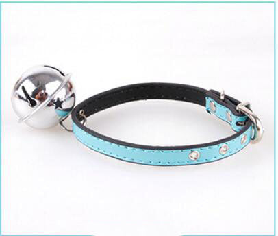 Large Bell PU Pet Dog Collar Leather 33cm Paddy Breathable Comfortable Adjustable Puppy Collars for Small Medium Dogs and Cats