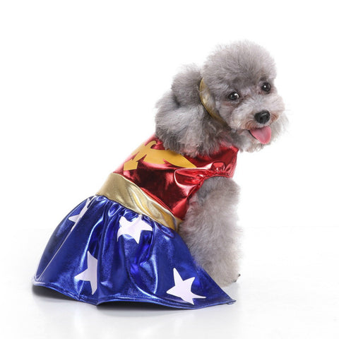 Christmas Dog Apparel Power Paw and Eagle Wonder Women Skirt Suit Dog Costume Jumpsuits for Small Medium Pet Dog Clothing S-XL, , DogGiftShop, DogGiftShop