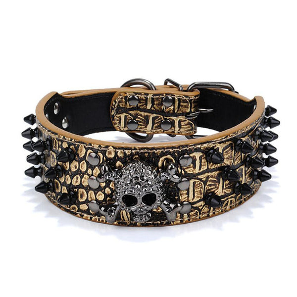 High Quality Funky Leather Collar With Stainless Steel Spikey Nails - DogGiftShop