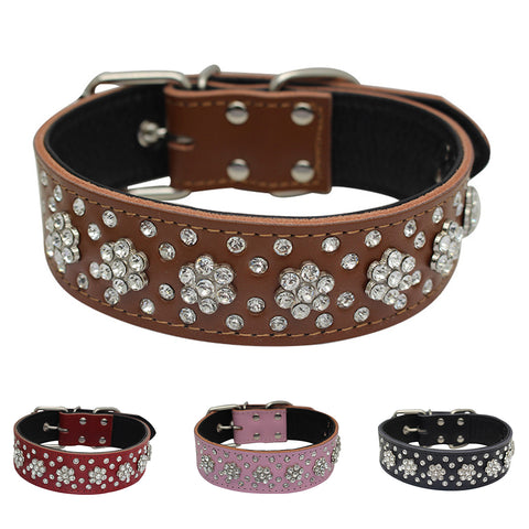 High Quaity Genuine Leather Jeweled Collar, , DogGiftShop, DogGiftShop