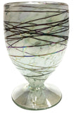 Stemless Wine Glass/Sangria Glass – White with Metallic Swirl