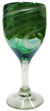 Wine Glass – Green with White Swirl