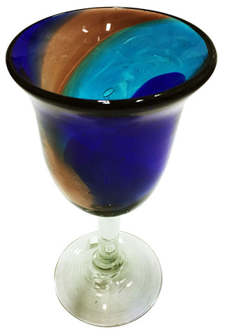 Water Goblet – Blue/Aqua Swirls