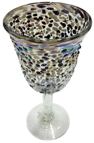 Water Goblet – Cream Metallic 3D Spots