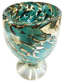 Stemless Wine Glass/Sangria Glass – Aqua & Cream Spots