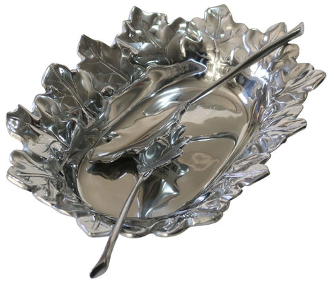 Maple Leaf Motif Salad Bowl and Leaf Tongs Set