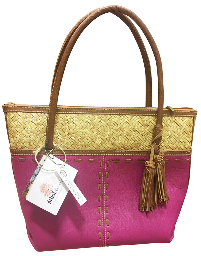 Leather Purse with Woven Palm Leaf & Tassels – Pink