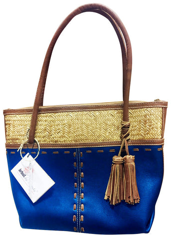 Leather Purse with Wicker Weave & Tassels – Royal Blue