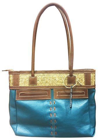 Leather Purse with Wicker & Pockets – Teal