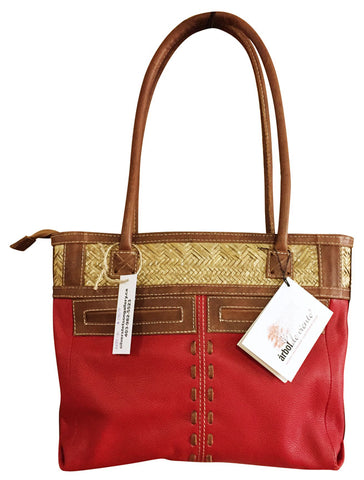 Leather Purse with Woven Palm Leaf & Pockets – Red