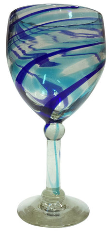 Wine Glass – Blue & Aqua Swirls