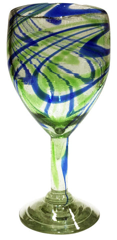 Wine Glass – Blue & Green Swirl