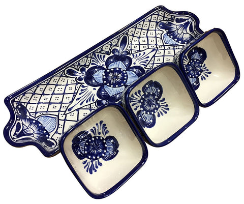 Talavera Appetizer Serving Set – Long – Blue