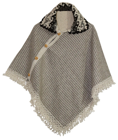 V-Shaped Pullover Poncho with Knit Collar