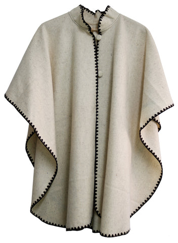 Long Cape-Style Poncho with 2-Button Front