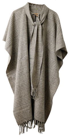 Long Cape-Style Poncho with Attached Scarf & Fringes
