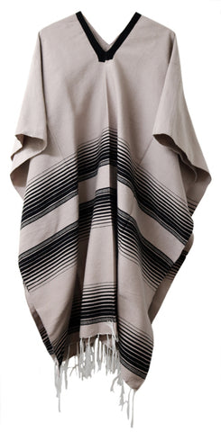 Drape Over Poncho with Stripes and Fringes