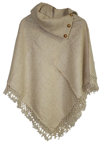 V-Shaped Pullover Poncho with 3-Button Cowl Neck
