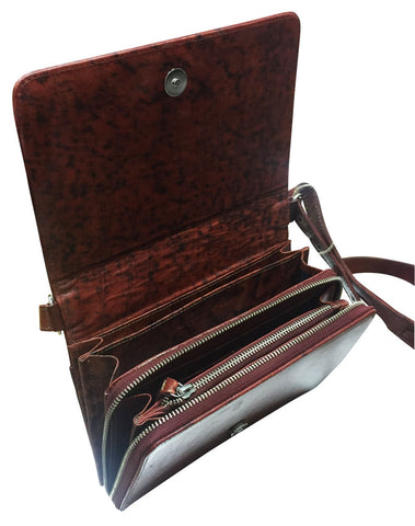 Brown Tooled Leather Multi-Compartment Purse