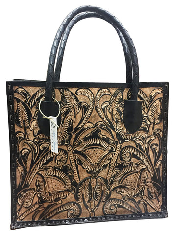 Tooled Leather Tote/Purse – Brown & Tan