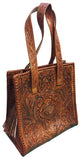 Tooled Leather Purse with Tassels – Brown