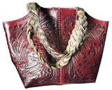Tooled Leather Purse with Braided Leather Handle – Burgundy