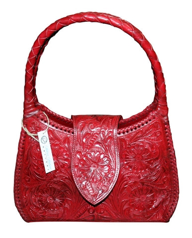 Tooled Leather Purse – Red