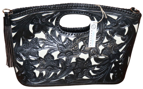 Tooled Leather Clutch Purse with Tassels – Black & Ivory