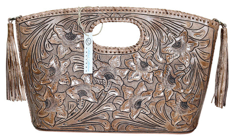 Tooled Leather Clutch Purse with Tassels – Taupe