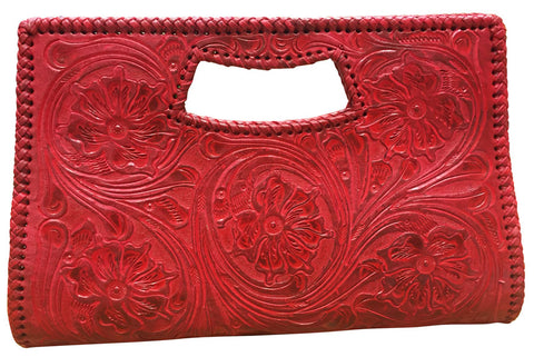 Tooled Leather Clutch Purse – Red