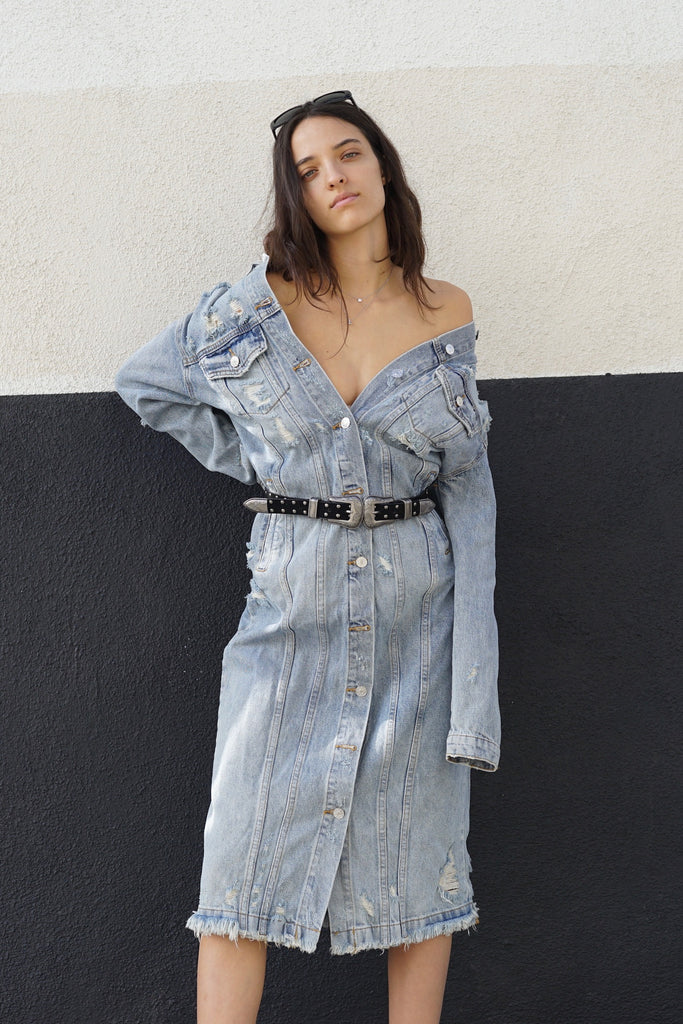 Destroyed Long Denim Jacket