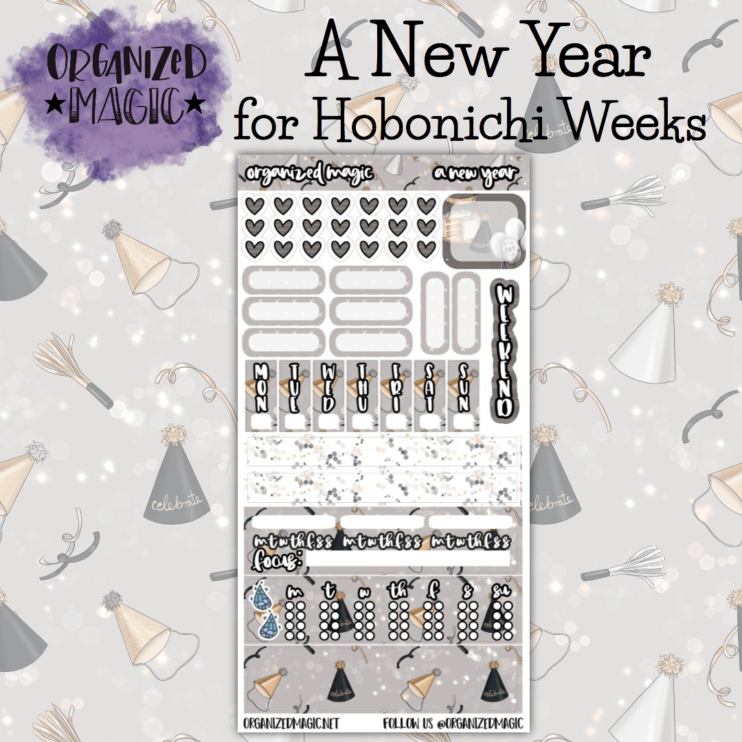 A New Year Hobonichi Weeks planner stickers