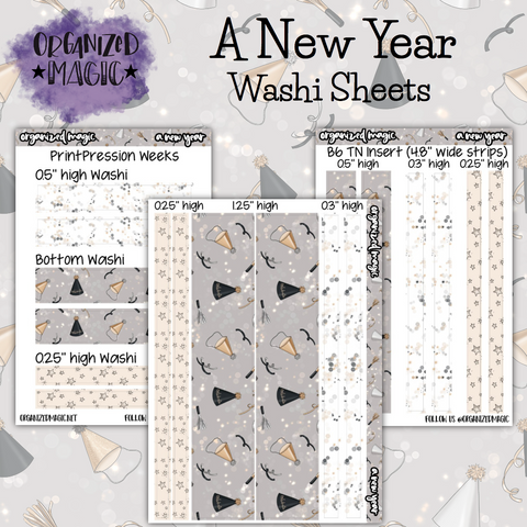 A New Year washi sheet planner stickers