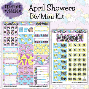 April Showers B6 Mini planner sticker kit