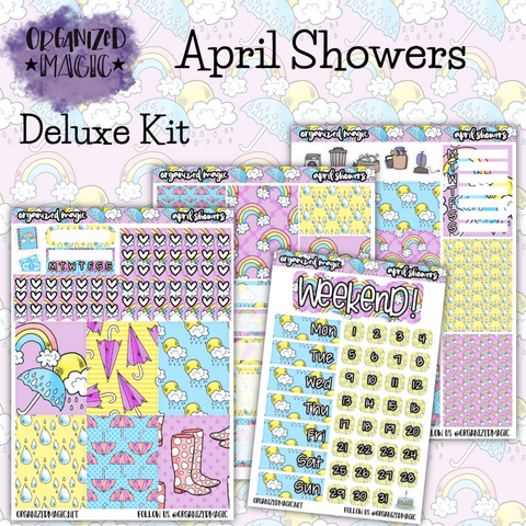 April Showers Deluxe weekly planner sticker kit