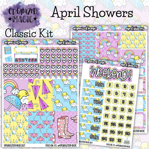 April Showers Classic weekly planner sticker kit
