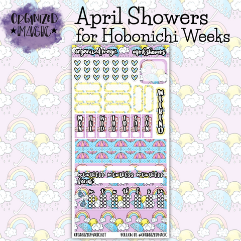 April Showers Hobonichi Weeks planner sticker kit