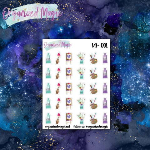 kawaii artist planner stickers